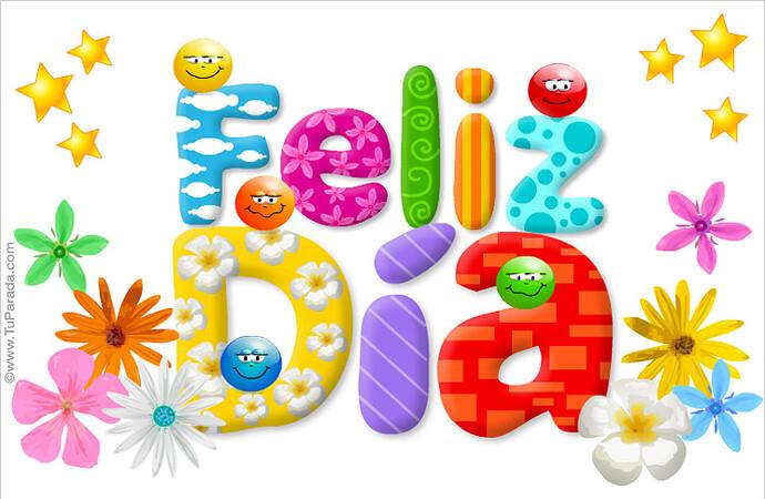 Tarjeta de feliz día multicolor - Buenos deseos, tarjetas